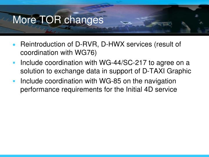 More TOR changes