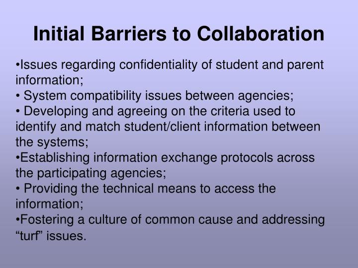 Initial barriers to collaboration