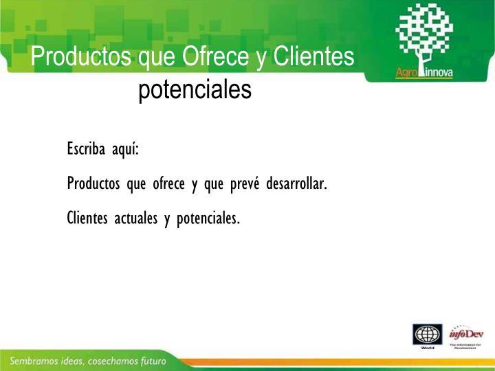 Productos que Ofrece y Clientes actuales y