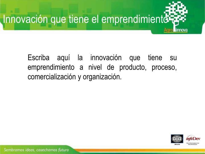 Innovación que tiene el emprendimiento