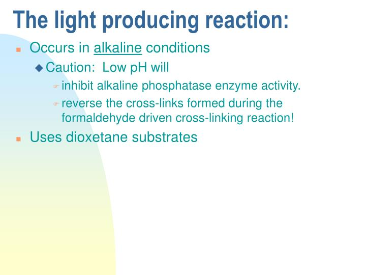 The light producing reaction: