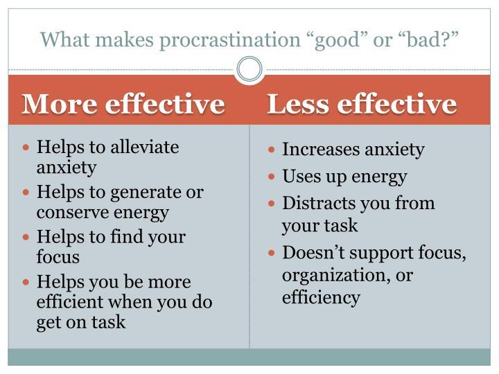 "What makes procrastination ""good"" or ""bad?"""