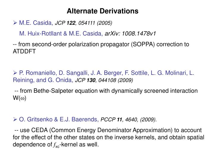 Alternate Derivations