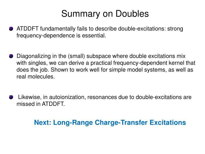 Summary on Doubles