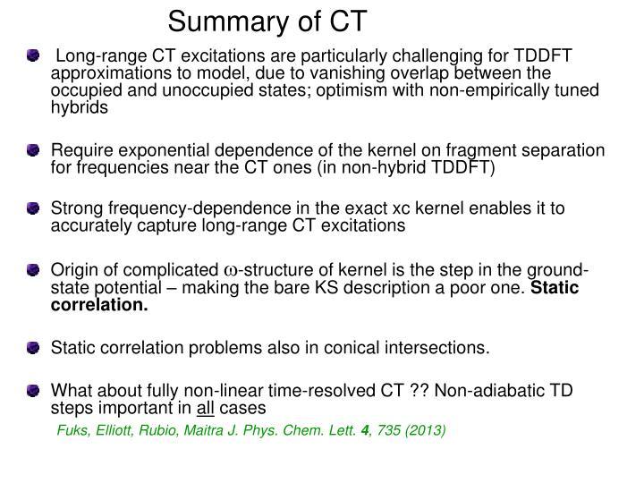 Summary of CT