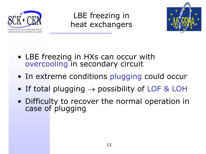 LBE freezing in heat exchangers