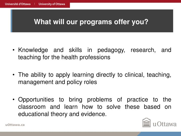 What will our programs offer you?