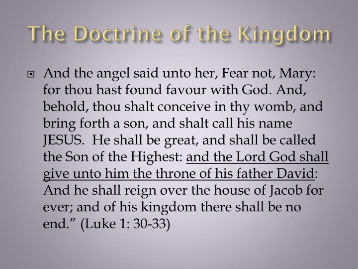 The Doctrine of the Kingdom