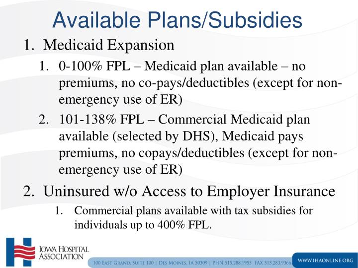 Available Plans/Subsidies