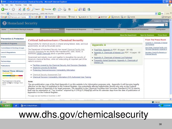 www.dhs.gov/chemicalsecurity