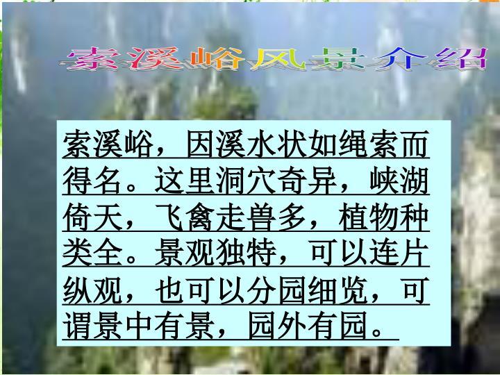 索溪峪风景介绍