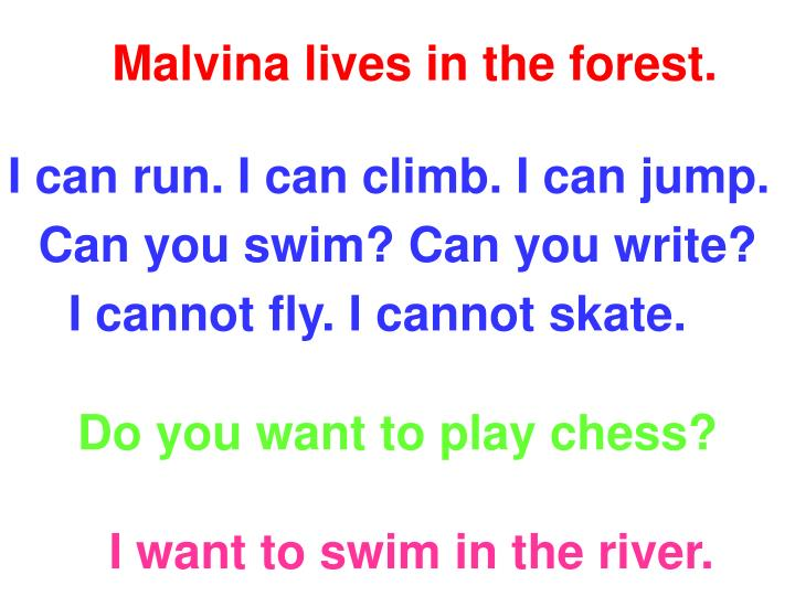 Malvina lives in the forest.