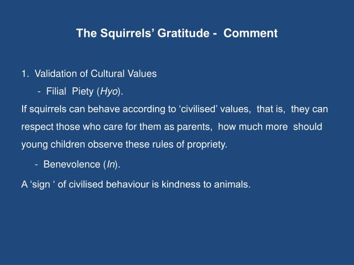 The Squirrels' Gratitude -  Comment