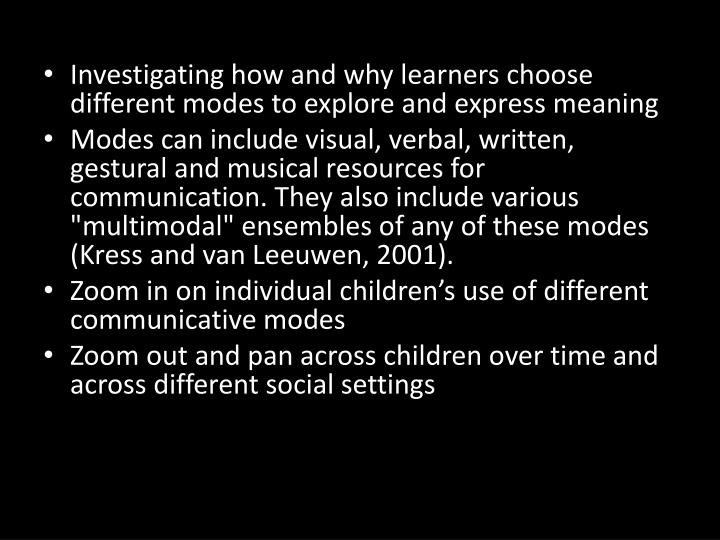 Investigating how and why learners choose different modes to explore and express meaning