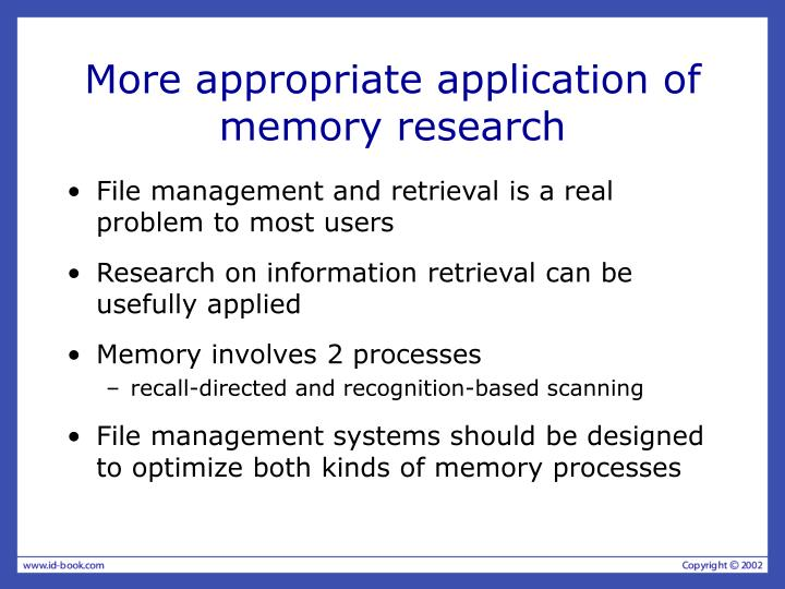 More appropriate application of memory research