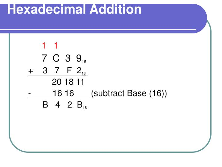 Hexadecimal Addition