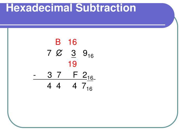 Hexadecimal Subtraction