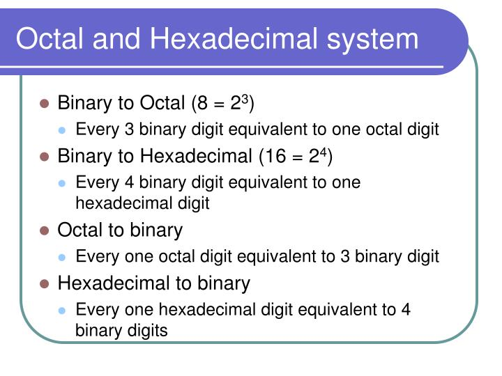 Octal and Hexadecimal system