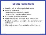 testing conditions