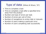 type of data wilson wixon 97