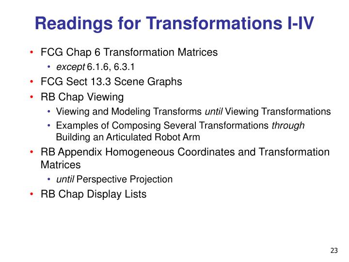 Readings for Transformations I-IV