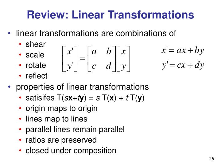 Review: Linear Transformations