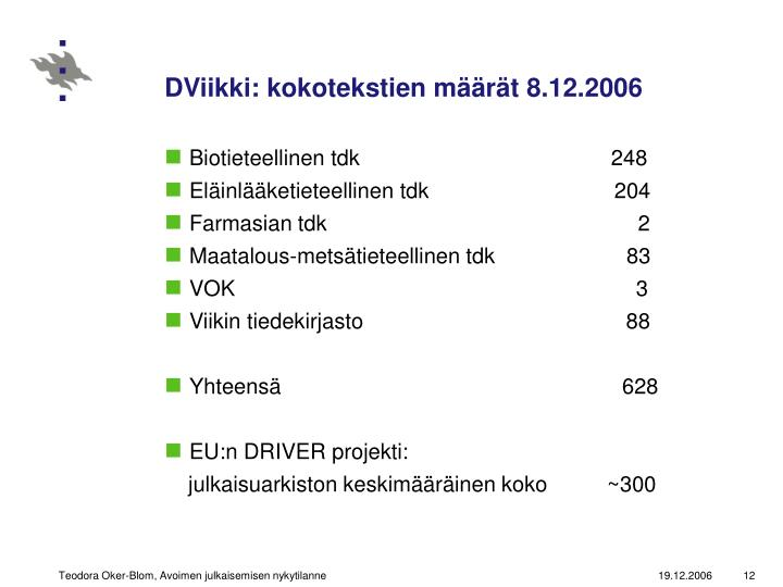 DViikki: kokotekstien määrät 8.12.2006