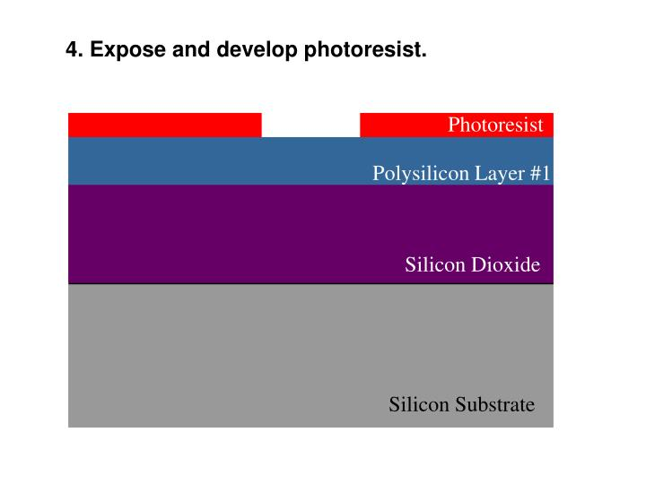 4. Expose and develop photoresist.