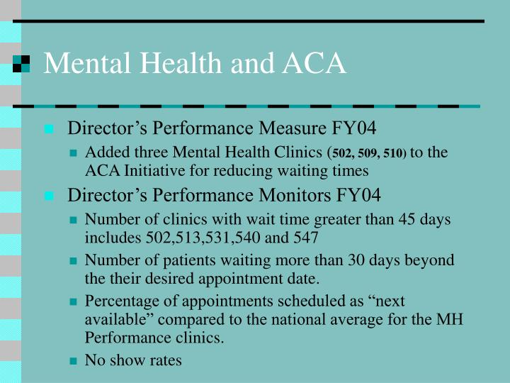 Mental Health and ACA