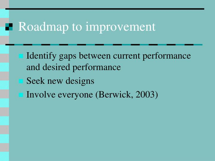 Roadmap to improvement