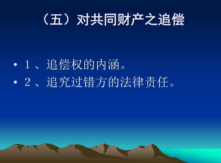 (五)对共同财产之追偿