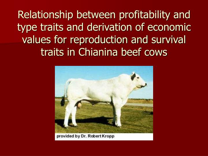 Relationship between profitability and type traits and derivation of economic values for reproduction and survival traits in Chianina beef cows