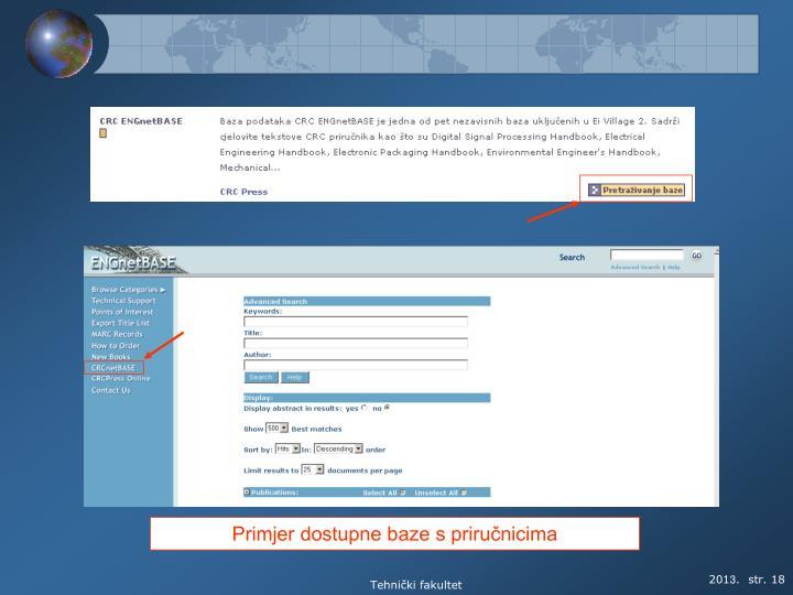 Primjer dostupne baze s priručnicima