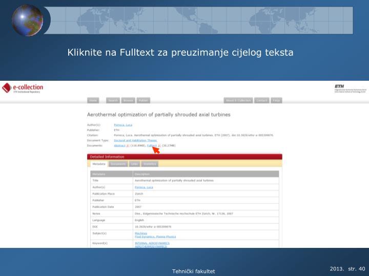 Kliknite na Fulltext za preuzimanje cijelog teksta