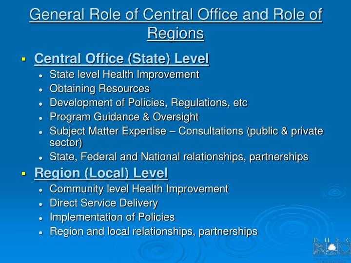 General Role of Central Office and Role of Regions
