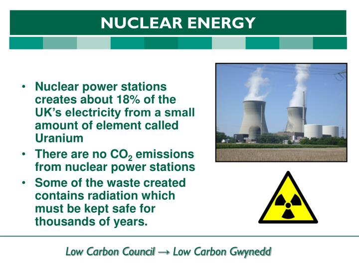 Nuclear power stations creates about 18% of the UK's electricity from a small amount of element called Uranium