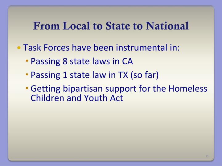 From Local to State to National