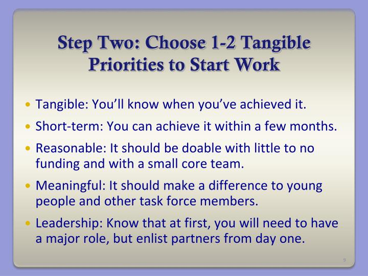 Step Two: Choose 1-2 Tangible Priorities to Start Work