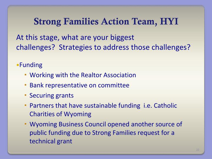 Strong Families Action Team, HYI