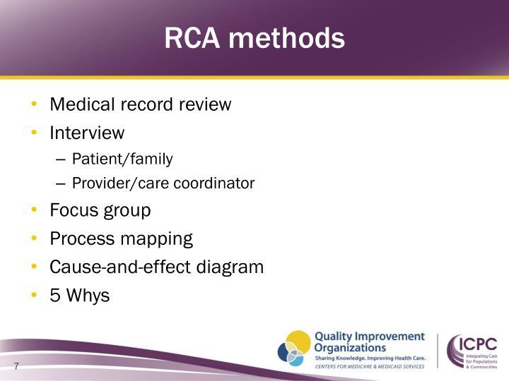 RCA methods