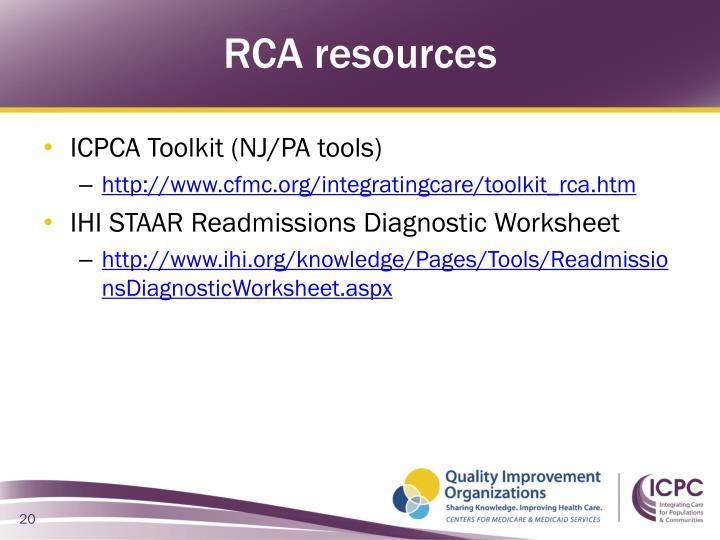RCA resources