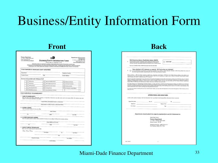 Business/Entity Information Form