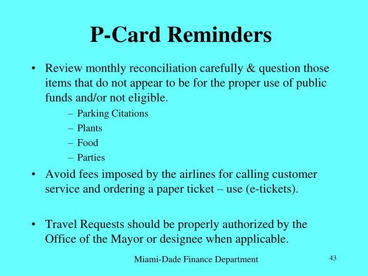 P-Card Reminders