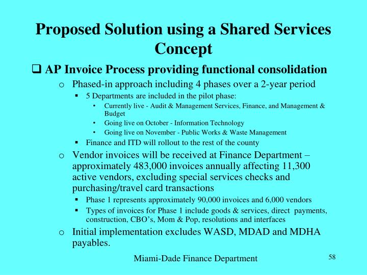 Proposed Solution using a Shared Services Concept