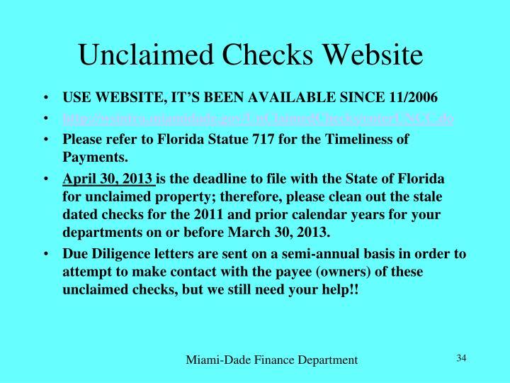 Unclaimed Checks Website