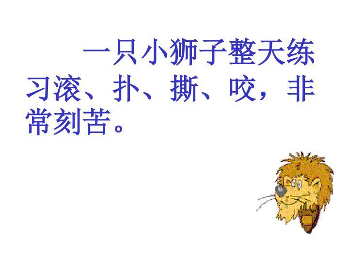 一只小狮子整天练习滚、扑、撕、咬,非常刻苦。