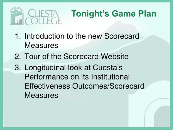 Tonight's Game Plan