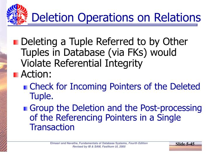 Deletion Operations on Relations
