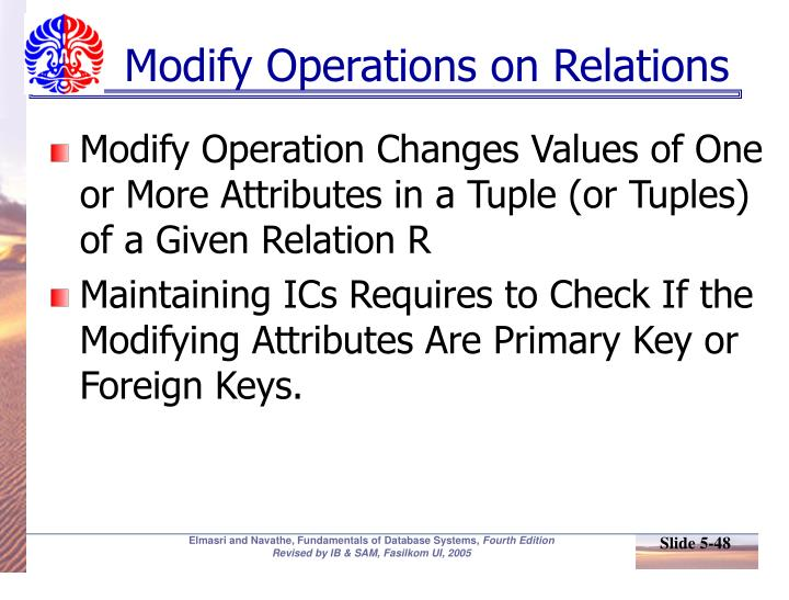 Modify Operations on Relations