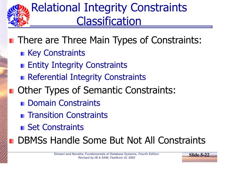 Relational Integrity Constraints Classification